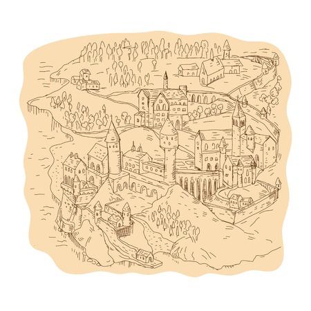 Dessin illustration de style croquis d'une carte de fantaisie médiévale, cartographie montrant le château, le village, l'église, la tour, les montagnes et les arbres. Banque d'images - 92023201