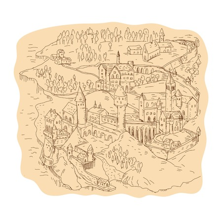 Drawing sketch style illustration of a medieval fantasy map, cartography showing castle, village, church, tower, mountains and trees.