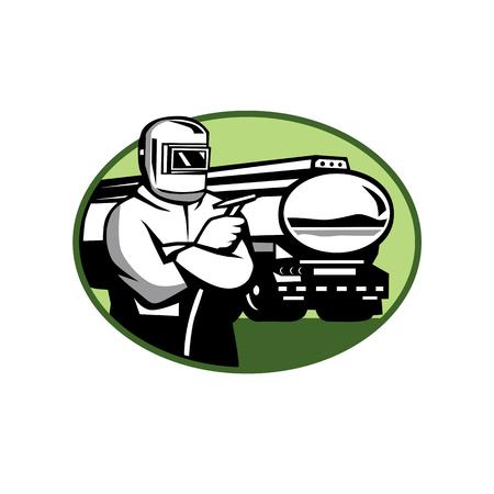 La retro illustrazione di stile di un saldatore del tig con la torcia della saldatura e l'autocisterna o l'autocisterna hanno messo dentro l'ovale su fondo isolato. Archivio Fotografico - 92023202