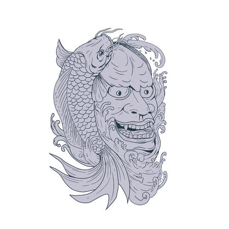 Dessin illustration de style croquis d'un masque de hannya, un masque de théâtre Nô représentant un démon femelle jaloux avec des yeux métalliques et une bouche lèche avec du poisson koi sur le côté. Banque d'images - 92023216
