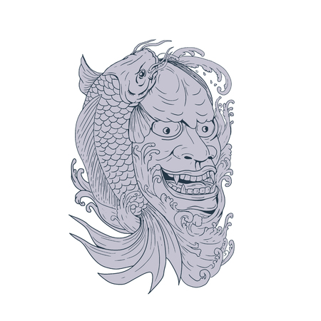 Drawing sketch style illustration of a hannya mask, a Noh theater mask representing a jealous female demon with metallic eyes and a leering mouth with koi fish on side.