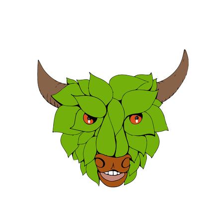 葉や緑の葉を持つ緑の雄牛のスケッチスタイルのイラストを描き、孤立した背景に正面から見た頭部を形成します。 写真素材 - 92023217