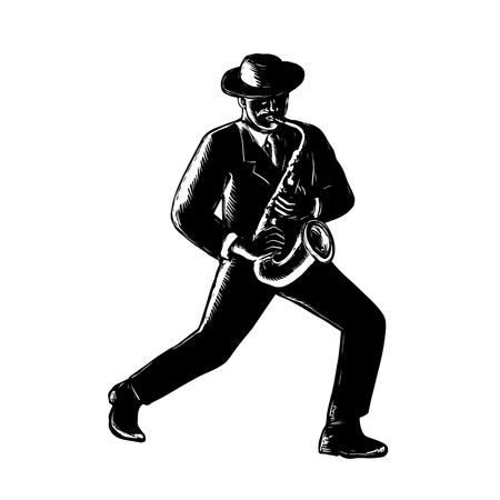 Retro woodcut style illustration of an African-American black jazz musician playing sax or saxophone viewed from front in black and white. Illustration