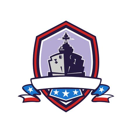 ●星条旗のリボンが孤立した背景に紋章の内側に設定された戦艦や海軍駆逐艦のレトロなスタイルのイラスト。  イラスト・ベクター素材