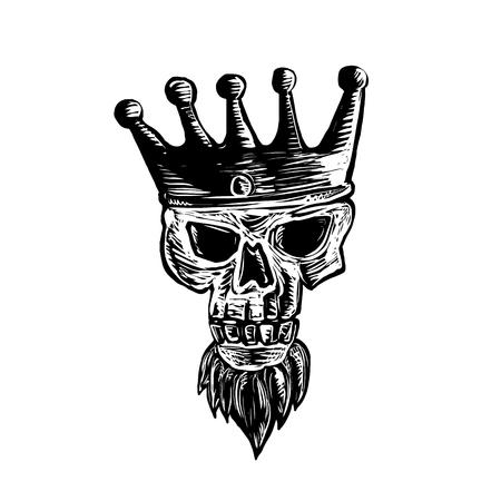 격리 된 배경에 scraperboard에 다 프런트에서 왕관을 착용하는 수염을 가진 왕의 두개골의 scratboard 스타일 그림. 일러스트