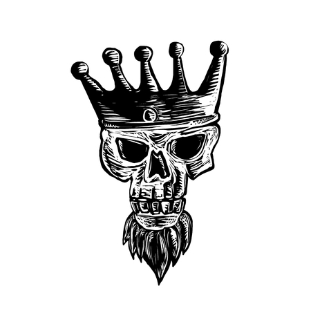 Scratchboard style illustration of a skull of king with beard wearing a crown vierwed from front done on scraperboard on isolated background. Illustration