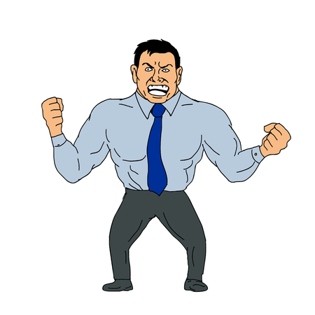 Cartoon style illustration of an angry businessman with clenched fist and shouting viewed from front on isolated background.