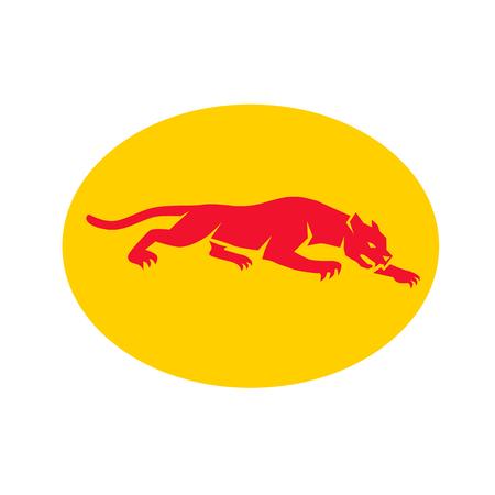 臥黒豹のレトロなスタイルのイラストは、孤立した背景に楕円形の内部設定側から見た。