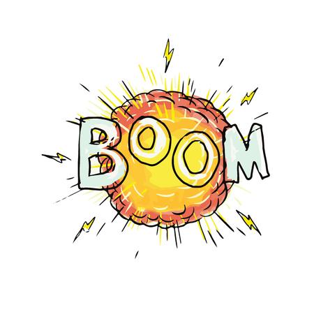 격리 된 배경에 설정 단어 붐와 폭발의 만화 스타일 그림.
