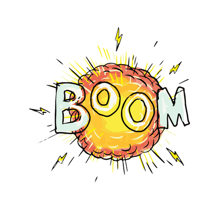 Cartoon style illustration of an explosion with words Boom set on isolated background.