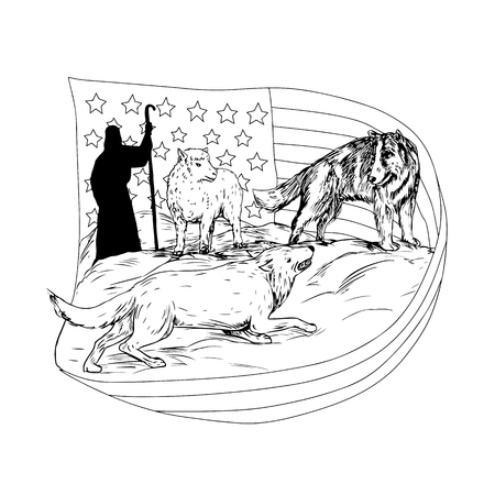 Drawing sketch style illustration of a sheepdog or border collie defend a lamb from being attacked and preyed on by lamb with American stars and stripes flag and shepherd in bakcground.