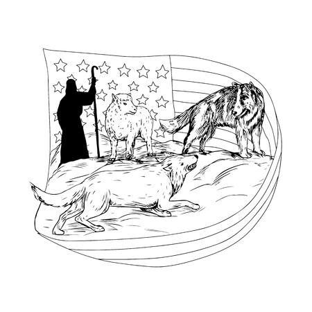 Het trekken van de illustratie van de schetsstijl van een herdershond of een border collie verdedigt een lam van wordt aangevallen en preyed door lam met Amerikaanse sterren en strepenvlag en herder in bakcground. Stock Illustratie