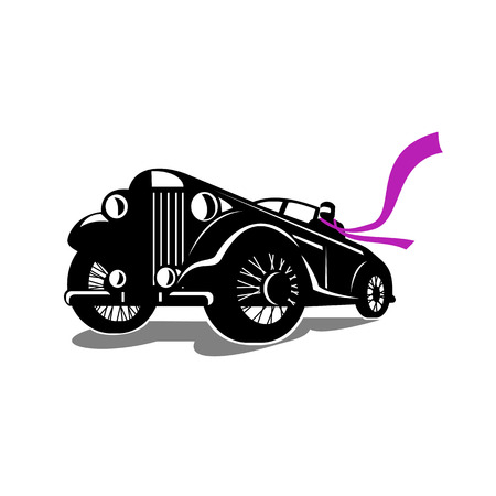 Retro style illustration of a vintage roadster, coupe classic automobile with top down and driver with flowing scarf viewed from a low angle on isolated background. Banco de Imagens - 92023294