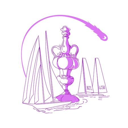항해 보트와 요트 경주 백그라운드에서 항해와 요트 챔피언십 컵의 스케치 스타일 그림 그리기.