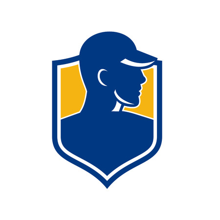 Icon style illustration of an Industrial Worker wearing hat set inside shield Crest on isolated background. Çizim