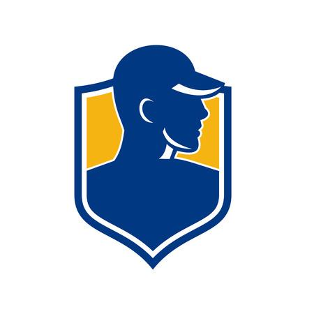 Ilustración del estilo del icono de un trabajador industrial que lleva el sombrero dentro del escudo Crest en fondo aislado. Foto de archivo - 92023231