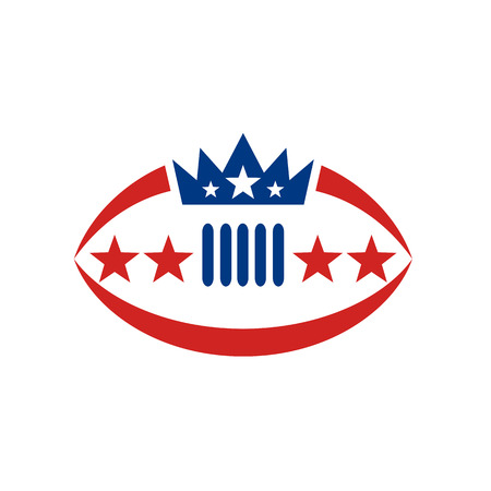 Icon style illustration of an American Football Ball with Crown and Star on isolated background.