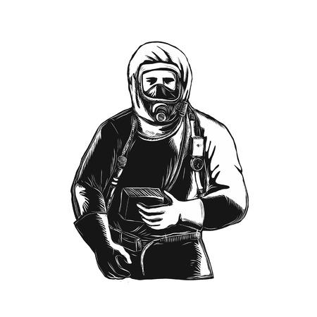 EMT、緊急医療技術者、消防士、救急救命士、研究者、孤立した背景にスクレーパーボード上で行われたハズマットスーツを着て労働者のスクラッチ  イラスト・ベクター素材