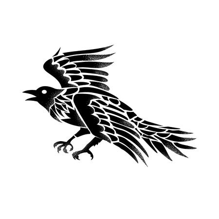 까마귀 또는 까마귀의 흑백에서 격리 된 배경에 비행 측면에서 볼 문신 스타일 그림.