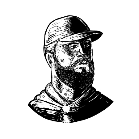 Scratchboard style illustration of a bearded chef wearing baseball hat and beard looking to side done on scraperboard on isolated background.