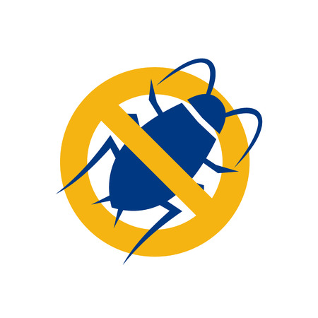 Icon style illustration for Stop Cockroach showing a cockroach set inside circle with a diagonal line in the middle on isolated background.