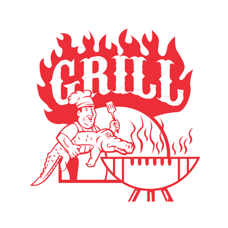Retro style illustration of a bbq chef carrying a gator to  barbecue grill with words Grill on isolated background. Illustration