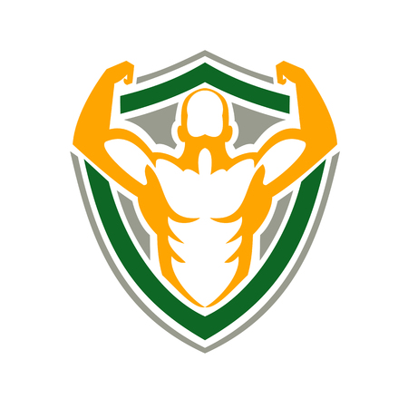 Icon style illustration of a Strongman Flexing some Muscles viewed from front on isolated background. Illustration