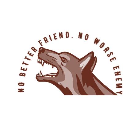 """Retro stijlillustratie van het boze Duitse herdershond grommen bekeken van kant met woordentekst """"Geen Betere Vriend. Geen slechtere vijand"""" op geïsoleerde achtergrond."""