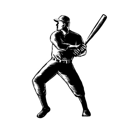 Retro woodcut style illustration of a baseball player batting viewed from side on isolated background done in black and white
