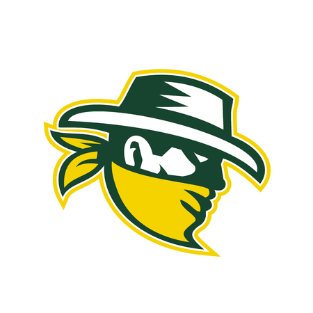 Retro style illustration of green bandit mascot, outlaw, robber, marauding gang member viewed from side on isolated background. Vettoriali