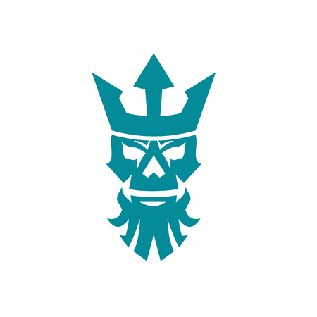 Icon style illustration of Poseidon or Neptune Skull Wearing a Crown on isolated background.