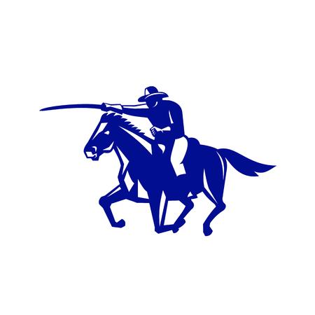 Retro-stijl illustratie van een Amerikaanse of Verenigde Staten cavalerie rijden op paard met zwaard Opladen van zijkant op geïsoleerde achtergrond bekeken. Stockfoto - 92021209