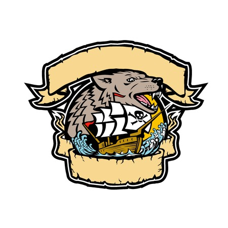 Retro style illustration of an angry seawolf or wolf head with galleon pirate ship below it framed from ribbon and banner on isolated background in full color. Vettoriali