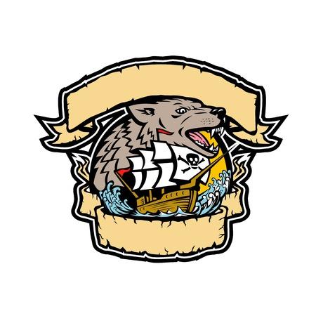 Retro stijlillustratie van een boos seawolf of wolfshoofd met galjoenpiraatschip onder het frame van lint en banner op geïsoleerde achtergrond in volledige kleur.