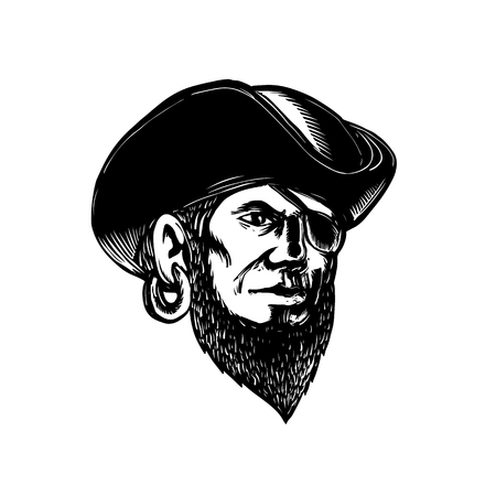 Scratchboard style illustration of a pirate wearing eye patch and tricorne hat done on scraperboard on isolated background.
