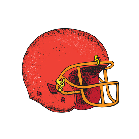 Tattoo style illustration of an American Football helmet viewed from side on isolated background. Banco de Imagens