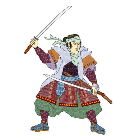 ●孤立した背景に戦いの姿勢で刀剣を持つ武士のモノラインイラスト。