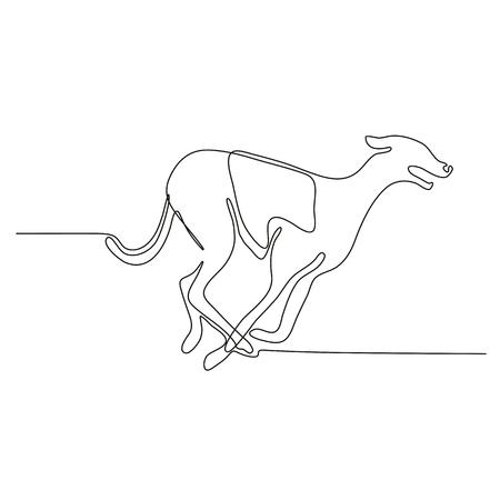 スケッチや落書きスタイルで行われた側から見たグレイハウンド犬のレースの連続線画図。