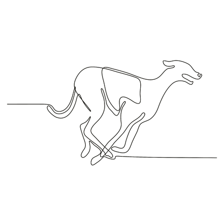 Continuous line drawing illustration of a greyhound dog racing viewed from side done in sketch or doodle style.