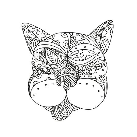 黒と白で行われた孤立した背景に正面から見たフレンチブルドッグやフレンチドッグの頭の落書きアートイラスト。