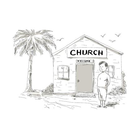Illustrazione di stile del fumetto di un ragazzo samoano senza camicia scarno che indossa lavalava che fa una pausa, accanto o davanti alla chiesa con il cocco dietro. Archivio Fotografico - 94974402