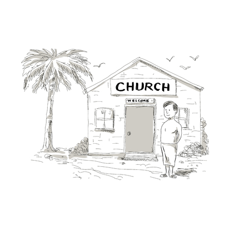 Cartoon style illustration of a skinny shirtless Samoan boy wearing lavalava standing by, beside or in front of church with coconut tree behind. Illustration