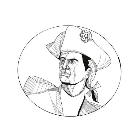 アメリカの愛国者、ミニッツマンや革命的な民兵兵士の落書きアートのイラストは、円の内側に設定されたサイドセットを探しています。  イラスト・ベクター素材
