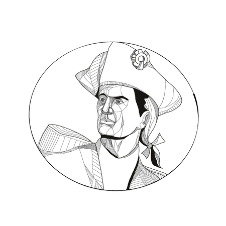 Doodle art illustration of an American patriot, minuteman or revolutionary militia soldier looking to side set inside circle.