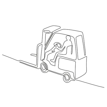 スケッチまたは落書きスタイルで行われた高い角度から見たフォークリフトトラックを運転する倉庫オペレータドライバーの連続線画図。  イラスト・ベクター素材