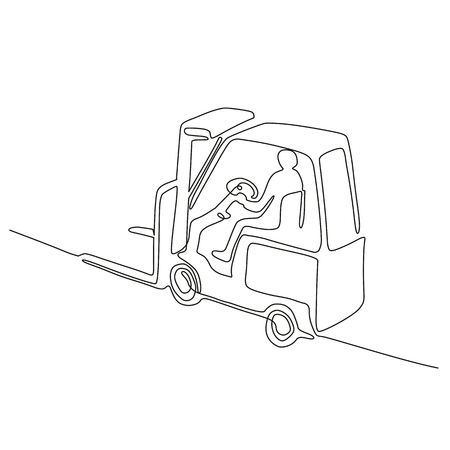 Continuous line drawing illustration of a warehouse operator driver driving a forklift truck viewed from high angle done in sketch or doodle style.  Stock Illustratie