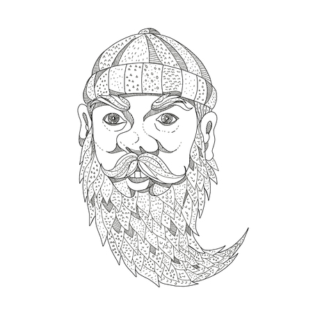 Doodle art illustration of head of Paul Bunyan, a giant lumberjack in American folklore with full beard viewed from front on isolated background done in black and white. Illustration