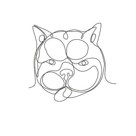 Continu lijntekening illustratie van het hoofd van een Franse bulldog of Frenchie, een klein ras van binnenlandse hond van voren gezien gedaan in schets of doodle stijl.