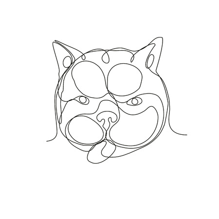 Continuous line drawing illustration of head of a french bulldog or Frenchie,a small breed of domestic dog viewed from front done in sketch or doodle style.