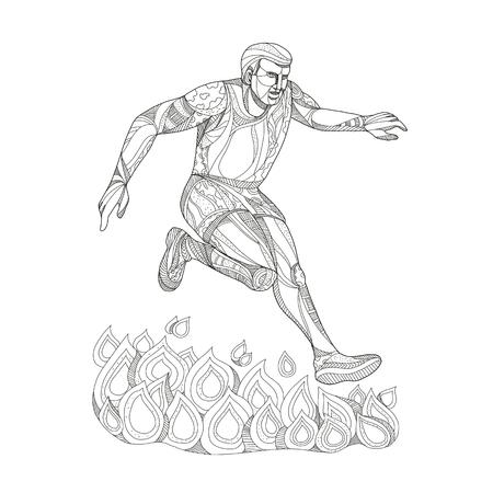 흑백에서 수행하는 격리 된 배경에 화재 위로 점프하는 장애물 코스 이벤트 레이서의 낙서 예술 그림.
